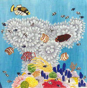 Jackie's painting of a mushroom reef