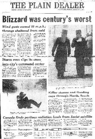 Front page during winter storm 1978. The top photo is businessmen with cardboard boxes on their head to protect themselves from the wind.