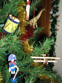 Christmas ornaments-dino, plane