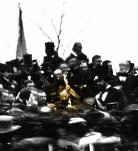 Pres. Lincoln(in highlighted circle) at Gettysburg Commemoration 1863. Photo from Wikipedia.