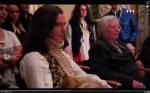 Pierce Brosnan as Louis XIV, sitting with Vonda McIntyre on the set