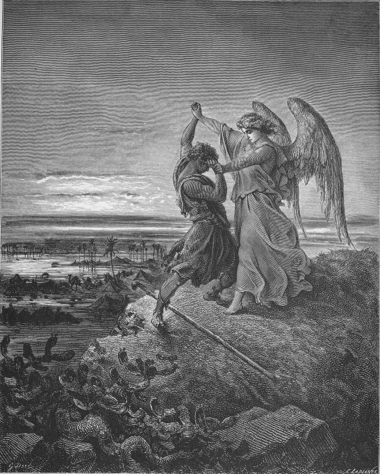 Jacob Wrestles with the Angel, by Paul Gustave Doré. Public domain via Wikimedia Commons.